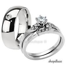 Steel Wedding Rings by Stainless Steel Wedding Ring Set Ebay