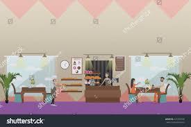 vector illustration saleswoman baker work visitors stock vector