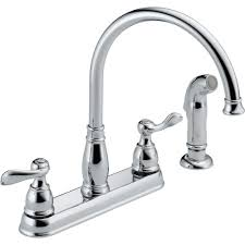delta windemere 2 handle standard kitchen faucet with side sprayer