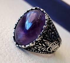 amethyst stone rings images Amethyst agate natural purple stone sterling silver 925 man jpg