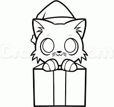 how to draw a christmas kitten step by step christmas stuff