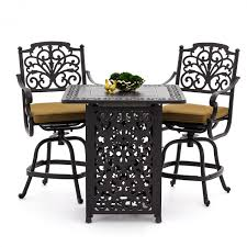 Counter Height Patio Dining Sets - evangeline 3 piece cast aluminum patio counter height bar set w