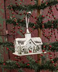 barn ornament cardboard barn glitter