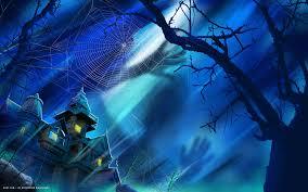 halloween house spider web tree shadow moonlight holiday hd