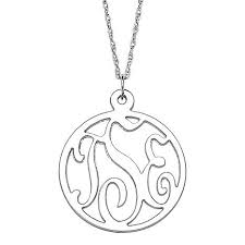 3 initial monogram necklace sterling silver 3 initial monogram sterling silver pendant with 20 rope