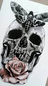 large skull rose temporary black tattoo hipster shoulder neck