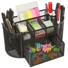 Mesh Desk Organizer Space Saving Black Mesh 8 Compartment Desktop School Supply