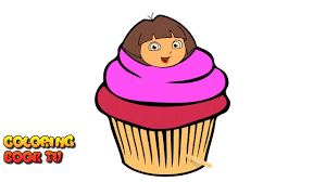 dora the explorer cupcake coloring pages for kids youtube
