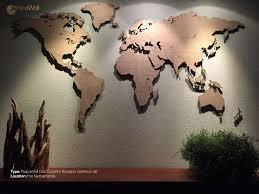 Wooden World Map Wall Art by World Map Oak Mapawall Com