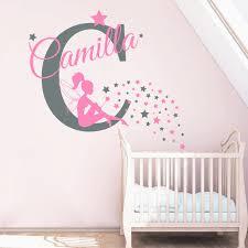 stickers fille chambre nom personnalisé stickers muraux fée autocollant nursery bébé fille