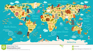 World Map Africa by Animals World Map Stock Vector Image 62418436