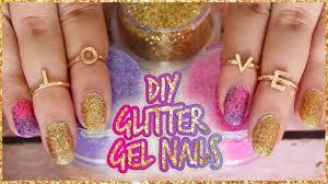 diy craft glitter gel nails youtube