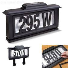led solar lighted address sign plaque house home number letter