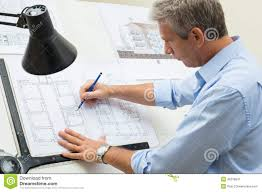 Architects Drafting Table Architect Working At Drawing Table Stock Photo Image 46378041