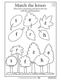 kindergarten preschool reading worksheets matching letters