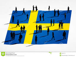 group of business people and swedish flag stock photo image