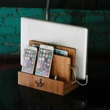 customized bamboo multi charging station eco friendly
