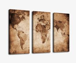 World Map Artwork by Vintage World Map On Canvas Trinkets For Travelers