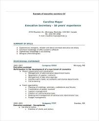 Example Of Secretary Resume by Executive Resume Examples 26 Free Word Pdf Documents Download