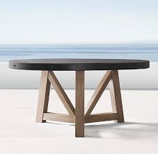72 round outdoor dining table beam concrete teak 72 round dining table