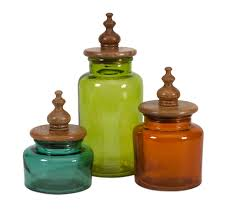 saburo glass and wood lid canisters set of 3 canister sets