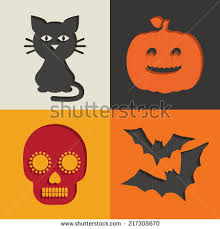 Halloween Cut Outs Set Halloween Cut Out Decorations Cat Stock Vector 217305670
