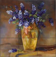 bluebonnet vase art tile mural kitchen back splash ceramic