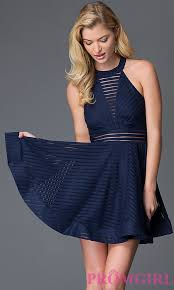 high neck fit and flare dress promgirl