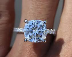 Cushion Cut Halo Diamond Engagement Ring In Platinum Moissanite Halo Ring Etsy