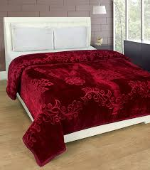 double bed buy srs maroon floral double bed mink blanket with complimentary