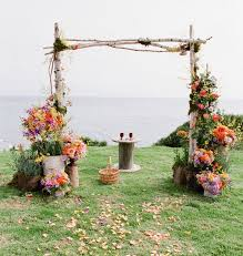 Wedding Arch Ladder Surround The Ceremony Backdrop Space With Potted Plants Of