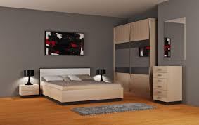 Modern Real Wood Bedroom Furniture Bedroom King Size Black Stained Solid Wood Panel Bed Grey Fabric