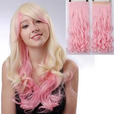 pink hair extensions 24 60cm synthetic clip in hair extensions curly wavy heat