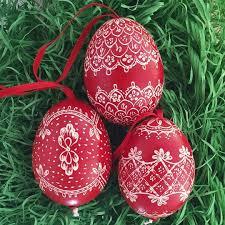 and white folkloric eastern european egg ornament handmade in
