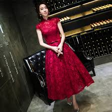 red lace tea length evening dress 2016 spring summer slim