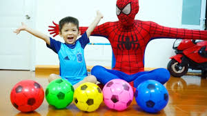 learn colors w spiderman and soccer balls baby xavi with