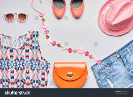 Orange Accessories Accessories Clothes Fashion Set Stylish Woman Stock Photo
