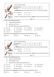 finding the nth term worksheet ks3 gcse by mathsparks teaching