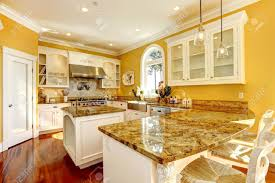 Kitchen Islands With Granite Bright Yellow Kitchen Interior In Luxury House With Granite Tops