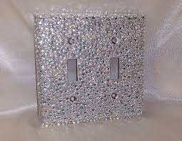 clear light switch cover bling silver glitter w clear ab iridescent rhinestone double