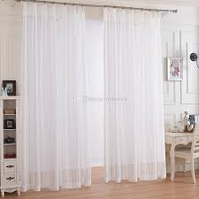 Window Fabric White Striped Design Window Gauze Sheer Curtains For Livingroom
