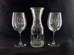 Wedding Gift Glasses Engraved Wine Carafe U0026 2 Personalized Wine Glasses By Giftworks