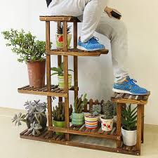5 tier wood shelf plant stand bathroom rack garden planter pot