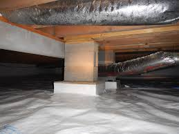 crawlspace block piers added to a beam between the floor joists