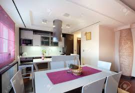 View Interior Of Homes by Interior Of A Modern Home View On Dining Room And Kitchen Stock
