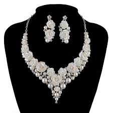 earring necklace sets wedding images Bridal wedding pearl jewelry sets fashion porcelain flower bright jpg