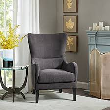 Grey And Yellow Chair Amazon Com Finlay High Back Grey Fabric Wing Chair Kitchen U0026 Dining