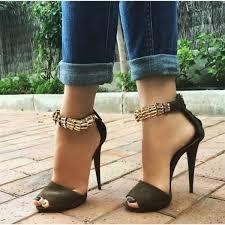 women u0027s army green cones heels dress shoes metal peep toe ankle