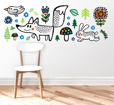 nursery wall decal wall decor wall sticker fox wild zoom