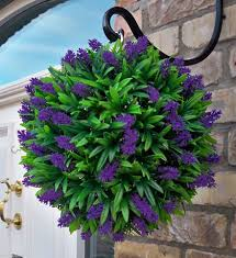 Hanging Topiary Best Artificial Lavender Lush Long Leaf Topiary Flower Ball Hanging